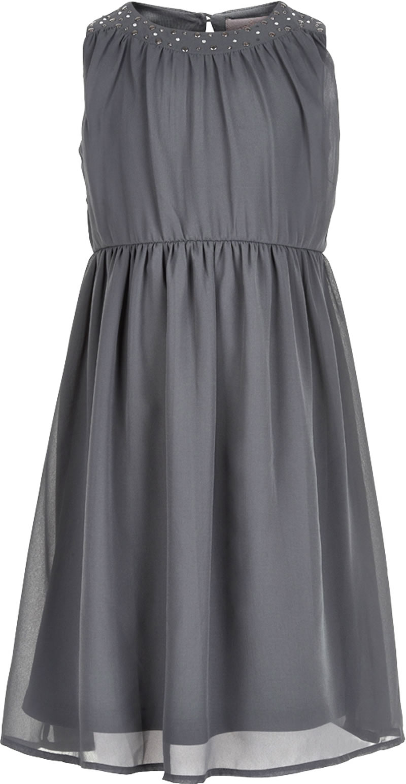 616f6bb10fd5 Beautiful sleeveless dress in delicate grey from CREAMIE. The neck is  covered with pallets and rivets and additional darts form the highlight.