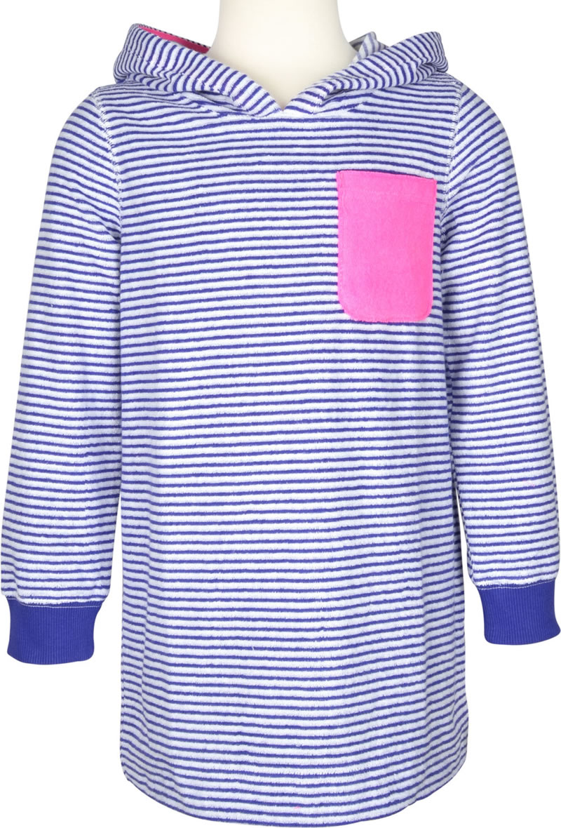 e7a5b0c37ff09 Practical beach dress made of terry cloth for girls by TOM JOULE. The  white-blue stripe pattern gives the dress a summery touch.