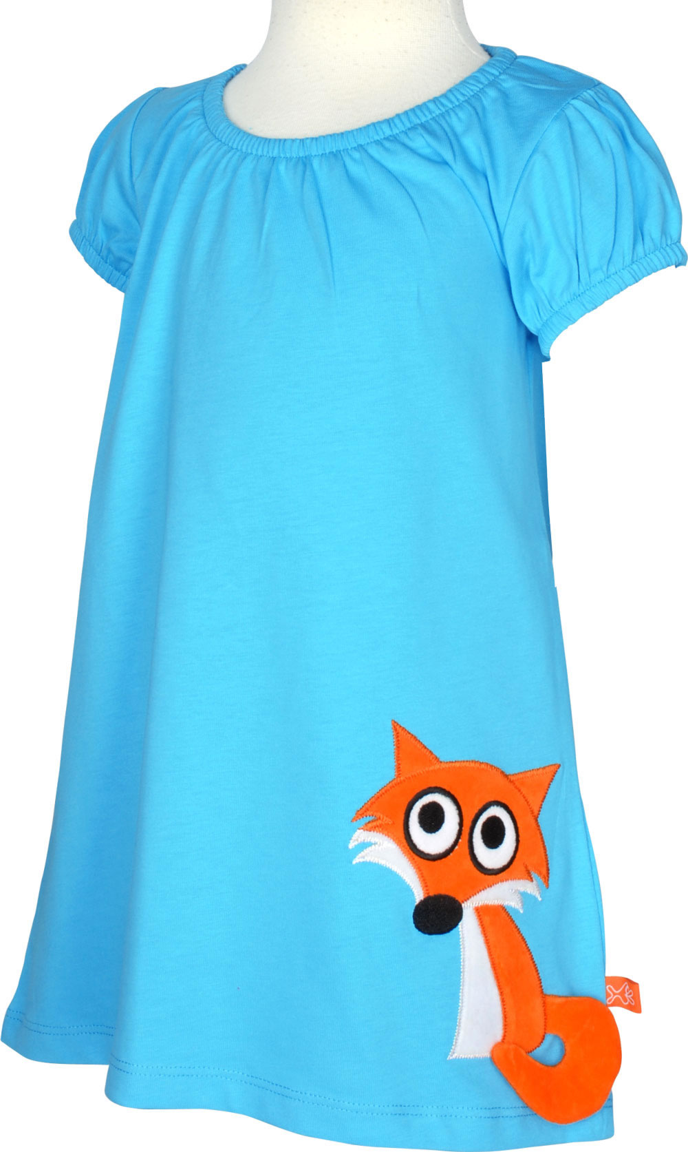 High Quality Is This Blue Short Sleeved Dress By LIPFISH The Little Orange Fox Central Eye Catcher Here Sleeves And Neckline Have A Light