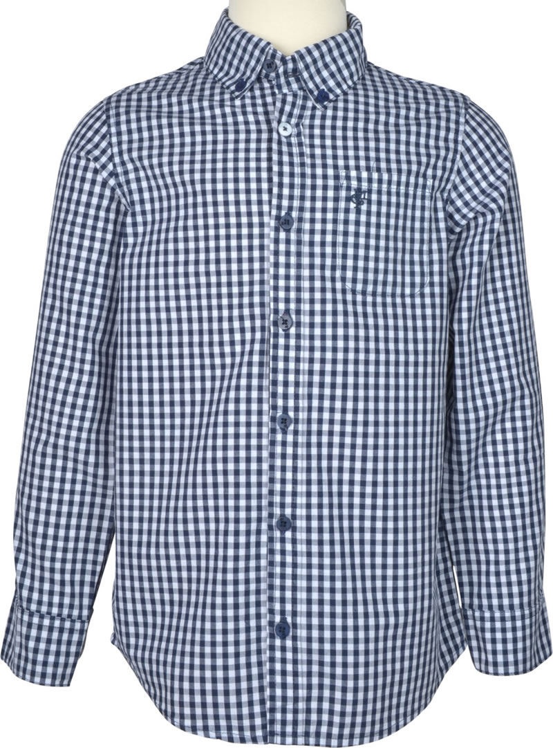 Dark blue and white plaid long-sleeved shirt with button-down collar for  boys by Marc O'Polo. The classic, rather sporty shirt has the discreet logo  on the ...