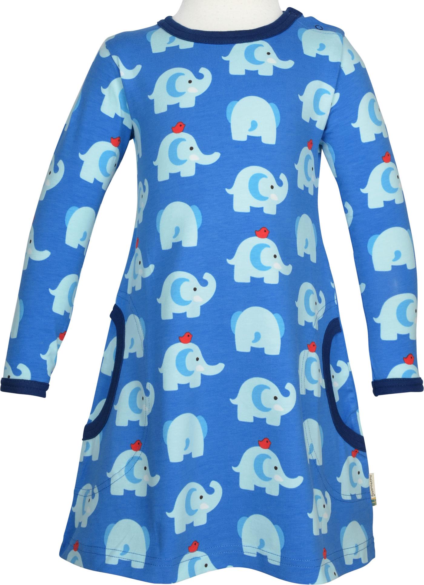 maxomorra kleid langarm elephant friends blau gots m436-c3339