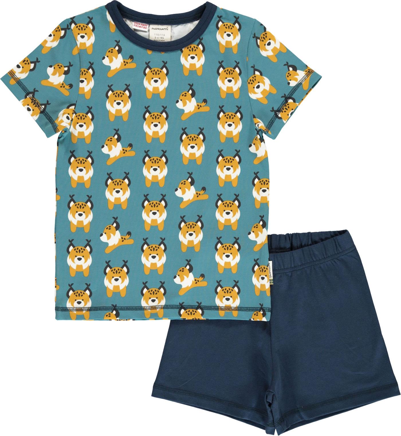 Maxomorra Pyjama Schlafanzug Kurz LUCHS Blau M439-D3274