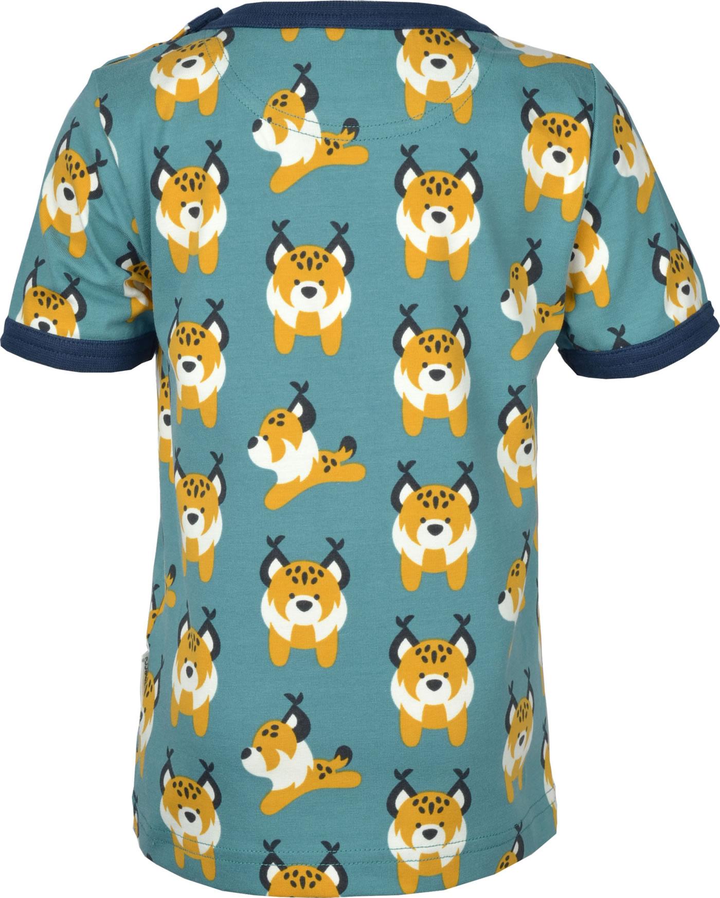 Maxomorra T-Shirt Kurzarm LUCHS Blau M468-D3274 GOTS Bei