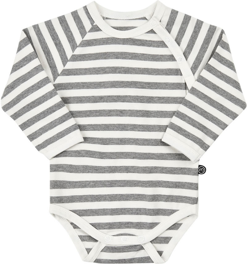 402f6ca200f0 Light grey-white striped baby body with long arms for boys and girls by  MINYMO, made of organic cotton. At the neck cut, there is a slanted push  button bar ...