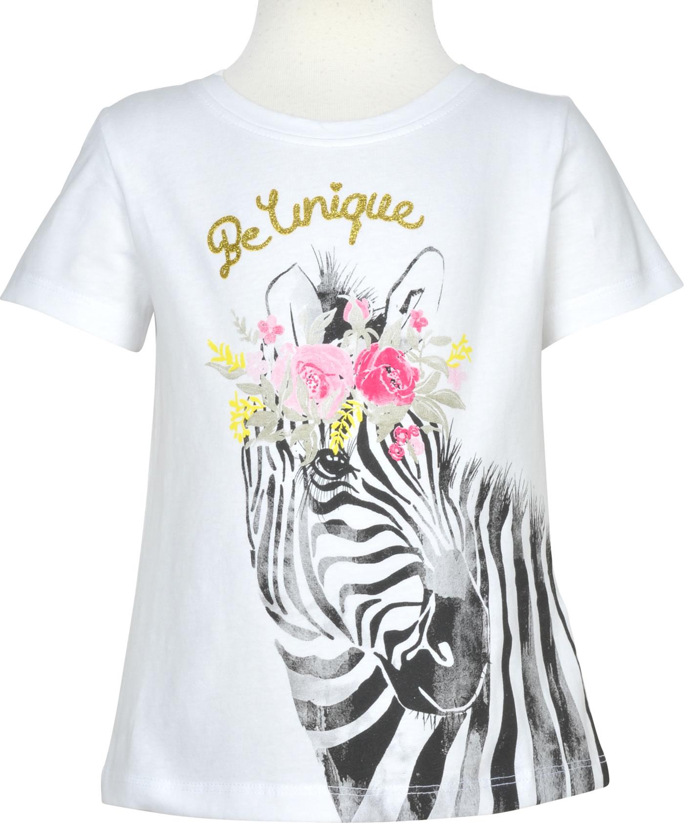 92-128 NMFZALLU SS TOP SUN Farbwechsel Name it Mädchen T-Shirt weiß kurzarm Gr