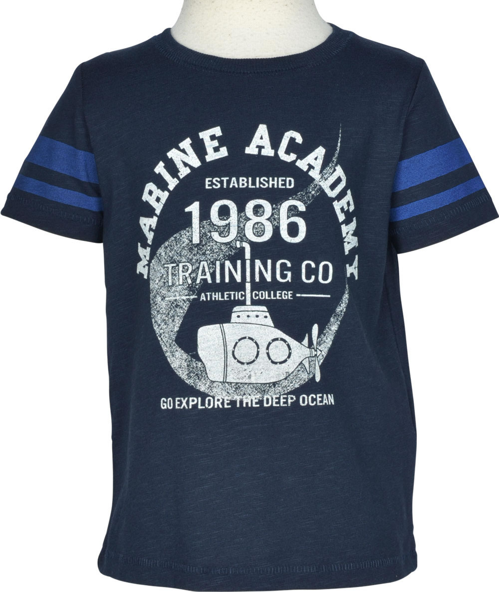 82abe208 Dark blue short sleeve shirt for boys with maritime print on the front by  NAME IT. The T-shirt can be combined well. The soft material ensures a high  ...