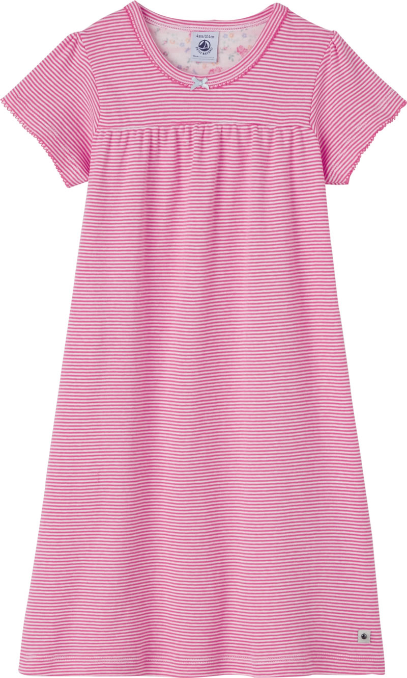 eb23d05eb49a2 This girl night shirt impresses with the famous milleraies stripes of PETIT  BATEAU in pink. The flowery half-moon motif is particularly beautiful.