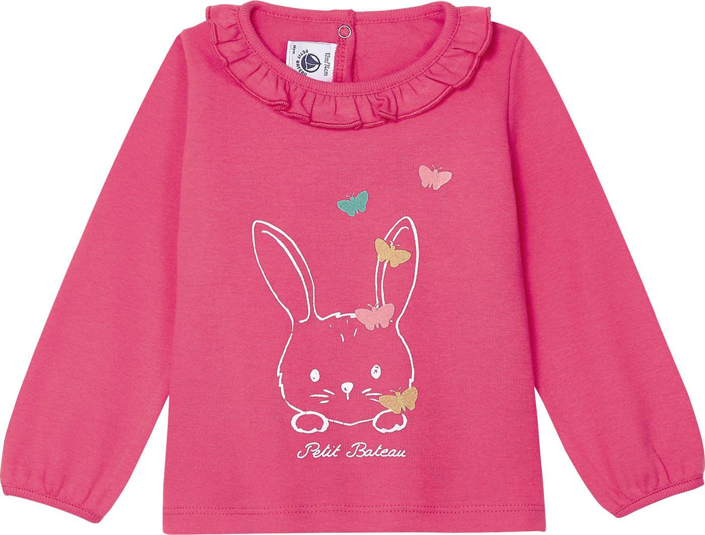 Petit Bateau Shirt for girls long rabbit sleeve pink 52844 02