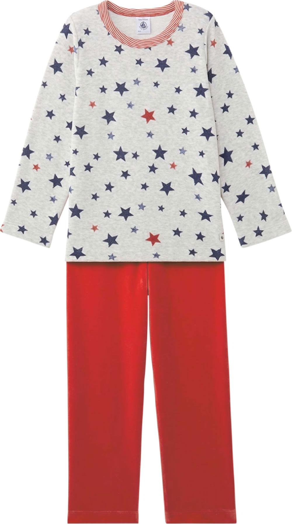 detailed look ac527 22d98 Petit Bateau Schlafanzug/Pyjama 2-teilig STERNE froufrou rot/grau 25454-67