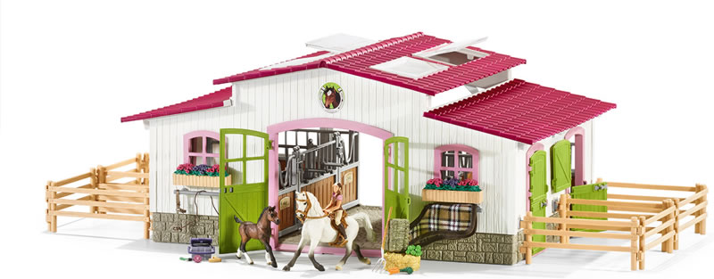 schleich reiterhof mit reiterin und pferden 42344 bei. Black Bedroom Furniture Sets. Home Design Ideas