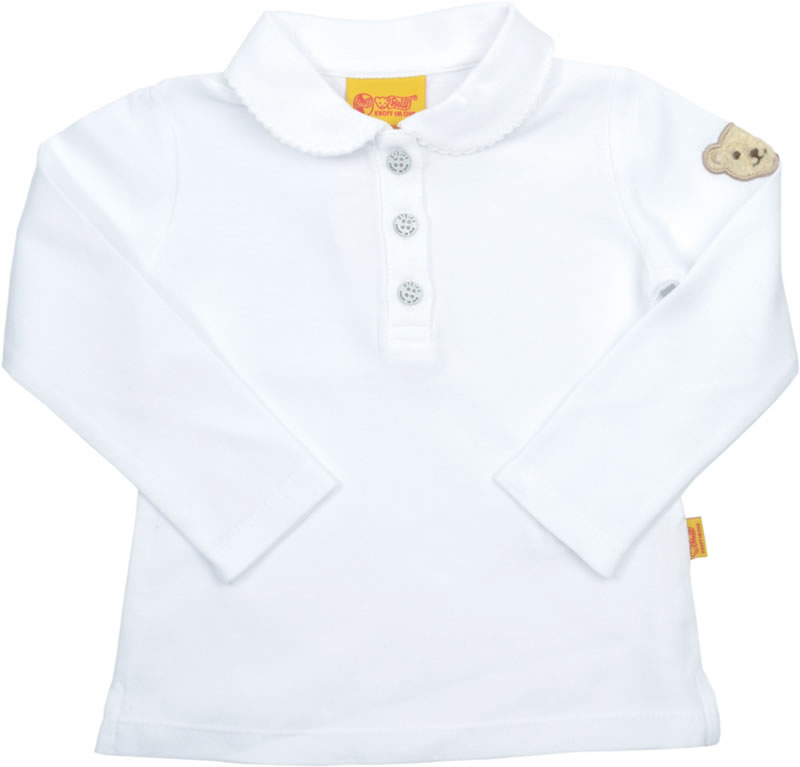 official photos c5c1c da1bf Steiff Polo-Shirt Langarm BASIC bright white/ weiss 0006836-1000