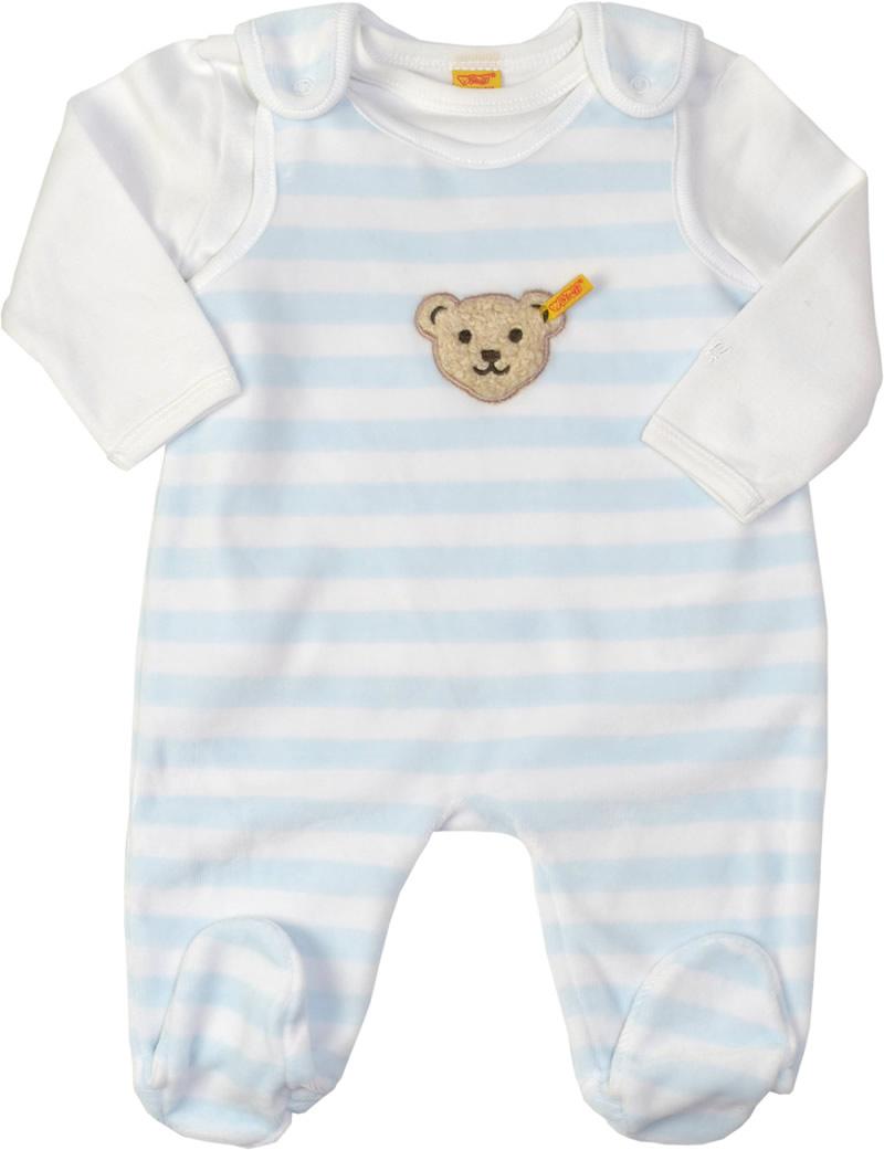 zeitloses Design 9833d e58c0 Steiff Nicki-Strampler m. Shirt BASIC baby blue 2tlg. 0002855-3023
