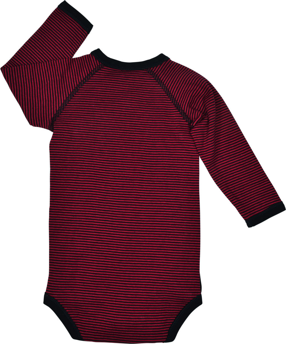 4e00e6b4a77 Dark blue-red striped wrap-body with long sleeves for boys and girls by  STEIFF. On the chest is the small STEIFF bear as a print. A push-button bar  from the ...
