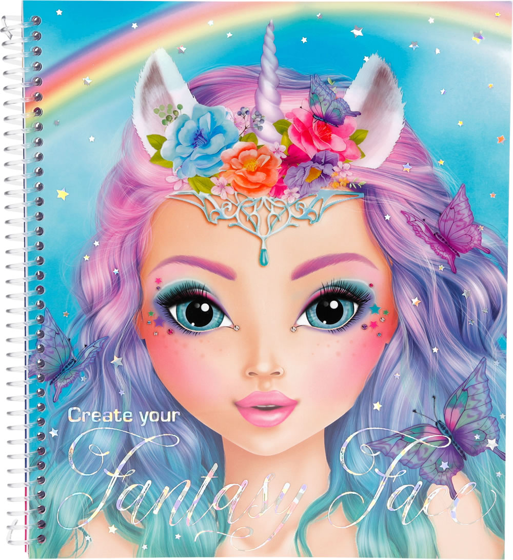 Topmodel malbuch create your fantasy face blau bei papiton - Top model carnet de dessin ...