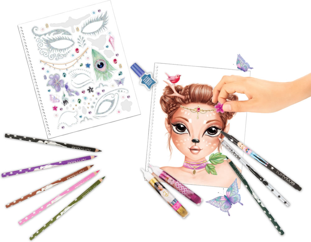 TOPModel painting book Create your Fantasy Face blue online at Papiton.