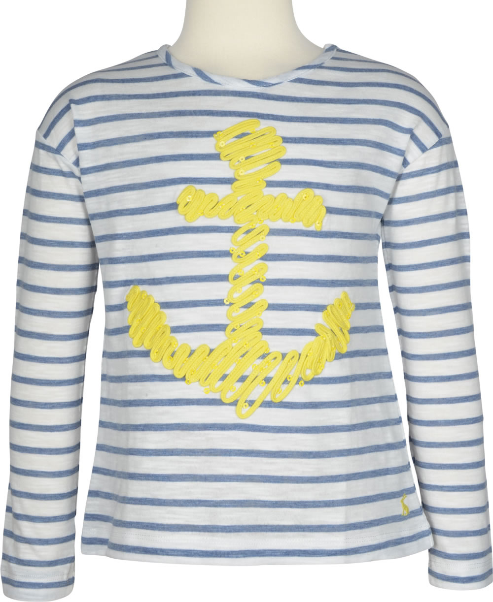 776d690365f92 White striped T-shirt with round neck and long sleeves and a maritime  anchor motif on the front. By TOM JOULE comes this beautiful garment