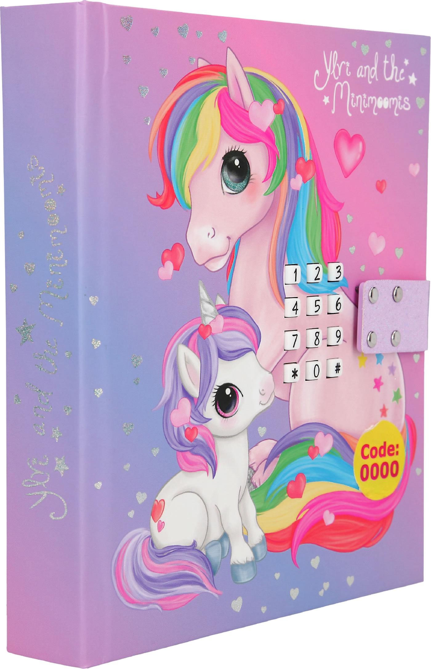 Ylvi and the Minimoomies diary with secret code and LED unicorn purple