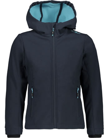 CMP Softshell-Jacke mit Kapuze Girl blue/turchese 3A29385N-03ND