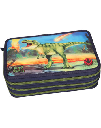DINO WORLD pencil case with filling with LED T-Rex