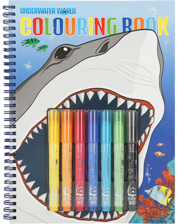 DINO WORLD Livre à colorier avec crayons Underwater World 7300