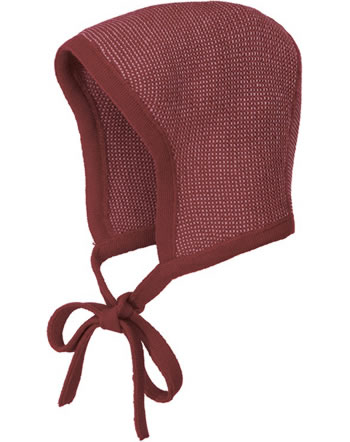 Disana Knitted Bonnet GOTS bordeaux-rosé 3611933