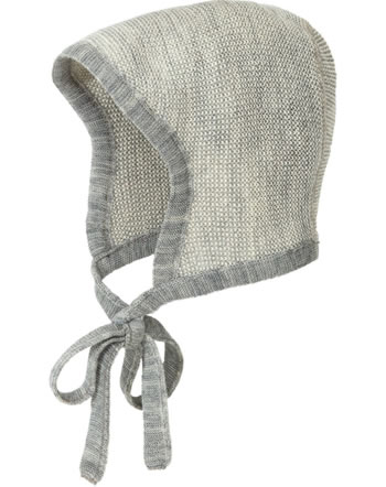 Disana Knitted Bonnet GOTS grey-natural 3611911
