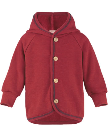Engel Baby-Frottee-Jacke mit Kapuze und Holzknöpfen rot mel. IVN-BEST 555520-060