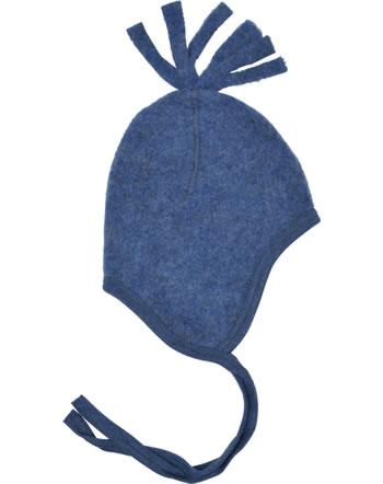 Engel Fleece-Mütze Schurwolle blau melange 575450-080 IVN-BEST
