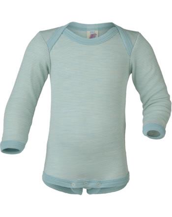 Engel Baby-Body long sleeve virgin wool/silk GOTS glacier/natural 729010-3001E