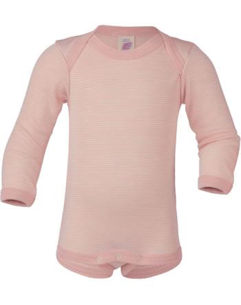 Engel Baby-Body long sleeve virgin wool/silk GOTS salmon/natural 729010-5001E