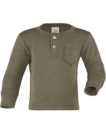 Engel Shirt mit Knopfleiste Langarm Wolle/Seide olive 705533-43E GOTS