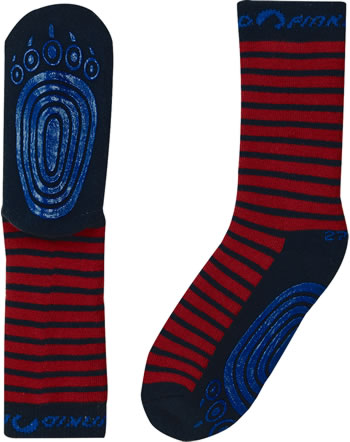 Finkid Basic Striped Gripsocks TAPSUT red/navy 1652002-200100
