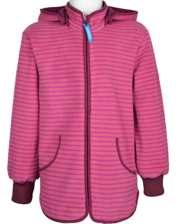 Finkid Fleecejacket Zip-In TONTTU STRIPED rose/cabernet 1122014-206249