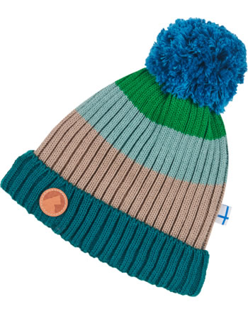 Finkid Knitted Beanie Colorblocking POMPULA green mix 1612010-328000