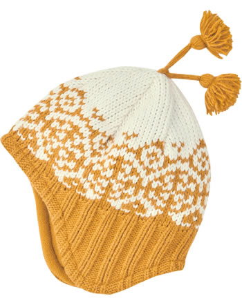 Finkid Wool knitted hat PEPPI golden yellow/offwhite 1612028-609406