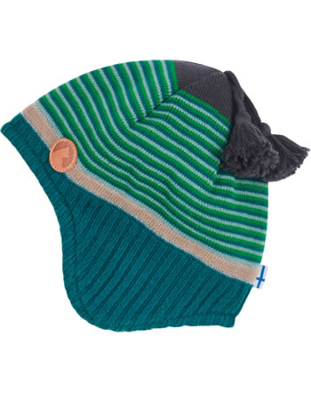 Finkid Knitted Striped Hat TIPI green mix 1612009-328000