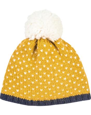 Finkid Bonnet en laine PEKONI golden yellow/off white 1612036-609406