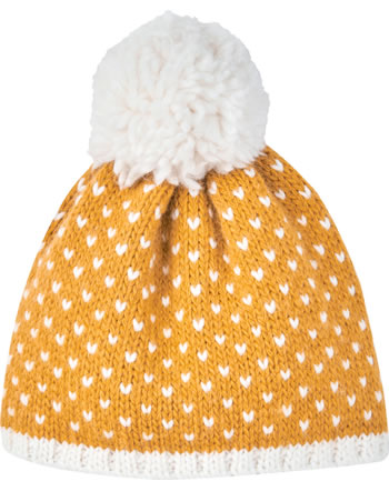Finkid Wool knitted hat PEKONI golden yellow/offwhite 1612027-609406