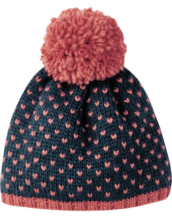 Finkid Wool knitted hat PEKONI navy/rose 1612027-100206