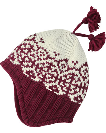 Finkid Wool knitted hat PEPPI cabernet/offwhite 1612028-249406