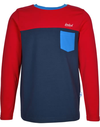 Finkid T-Shirt Langarm PUOMI red/navy 1532006-200100