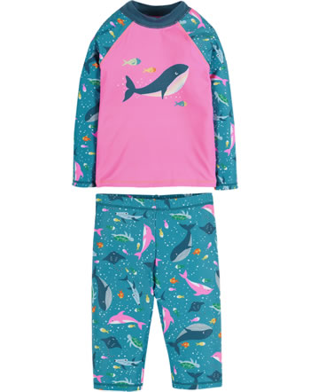 Frugi Beachhose + Shirt Sun Safe Set LSF 40+ mid pink whale SWS112MWH