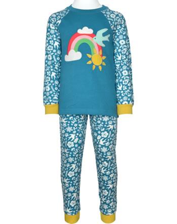 Frugi Pyjama lang JAMIE JIM JAMS loch blue bloom/rainbow PJA104LBG