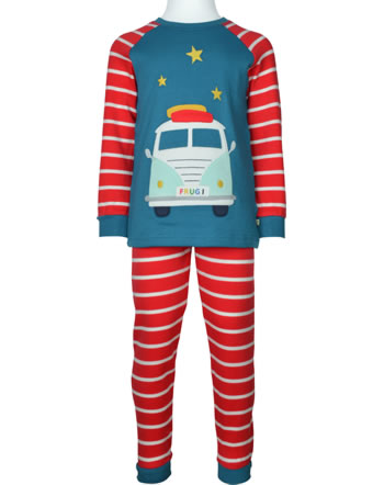 Frugi Pyjama lang LONG JOHN true red stripe camper PJA105TCB