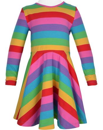 Frugi Spring Skater Dress short sleeve SOFIA foxglove rainbow stripe DRA018FRB