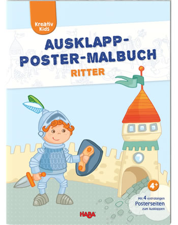 HABA Kreativ Kids - Ausklapp-Poster-Malbuch Ritter 304455