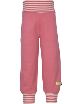 loud + proud Trousers with cuffs Interlock FOREST ANIMALS mauve 4126-mau GOTS