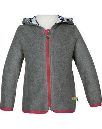 loud + proud Fleece-Jacke mit Kapuze EISBÄR UND ORCA steel 3069-ste