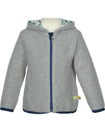 loud + proud Fleece jacket with hood FOREST ANIMALS grey 3087-gr GOTS