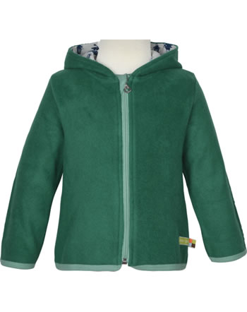 loud + proud Fleece jacket with hood FOREST ANIMALS ivy 3087-ivy GOTS